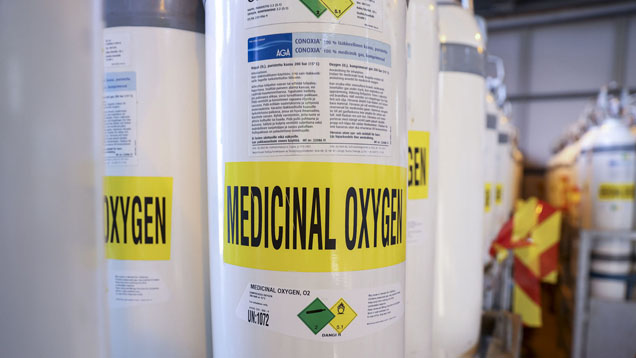 Medical oxygen tanks.